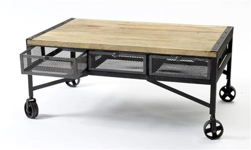 Tribeca Industrial Mesh Drawer Caster Wheel Coffee Table | Kathy Kuo Home