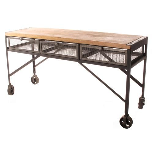 tribeca industrial mesh drawer caster wheel desk console table kathy kuo home. Black Bedroom Furniture Sets. Home Design Ideas