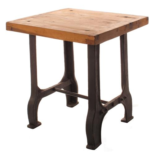 Foundry reclaimed wood cast iron base end table kathy for Iron and wood side table