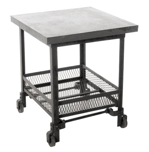 Urban Mercantile Galvanized Steel Industrial Side Table | Kathy Kuo Home
