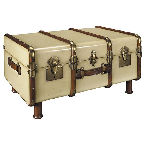 Solomon Modern Classic Ivory Antique Brass Accent Travel Trunk | Kathy Kuo Home