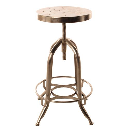 Architect's Industrial Iron Nickel Counter Bar Swivel Stool | Kathy Kuo Home