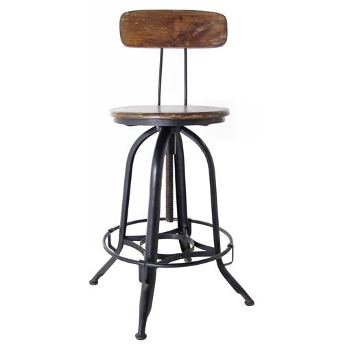 Architect's Industrial Wood Iron Counter Bar Swivel Stool with Back | Kathy Kuo Home