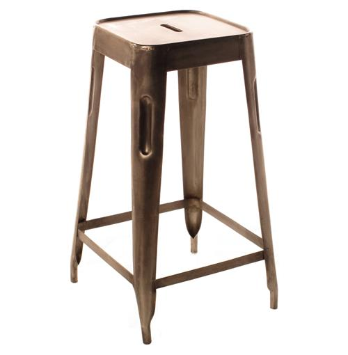 Ironworks Industrial loft Aged Nickel Counter Stool | Kathy Kuo Home