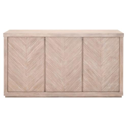 Astrid Modern 3-Door Chevron Pattern Natural Brown Solid Acacia Media Sideboard | Kathy Kuo Home