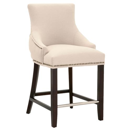 Aveah Modern Classic Beige Upholstered Tufted Espresso Birch Counter Stool | Kathy Kuo Home