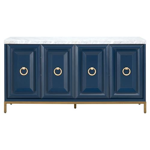 Avril Modern Classic 4-Door Brushed Gold White Marble Top Blue Media Sideboard | Kathy Kuo Home