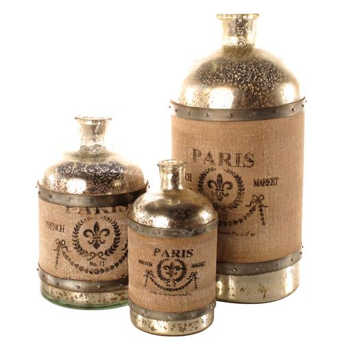 French Country Paris Wrapped Burlap Mercury Glass Bottle- Set of 3 | Kathy Kuo Home
