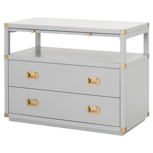 Bobby Modern Dove Grey Acacia Brushed Gold Pulls 2-Drawer Nightstand | Kathy Kuo Home