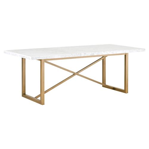 Carol Modern Classic White Marble Top Brushed Gold Dining Table | Kathy Kuo Home