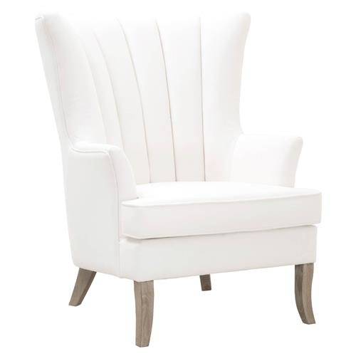 Evelyn Modern Classic Pearl White Performance Oak Wing Back Occasional Arm Chair Kathy Kuo Home
