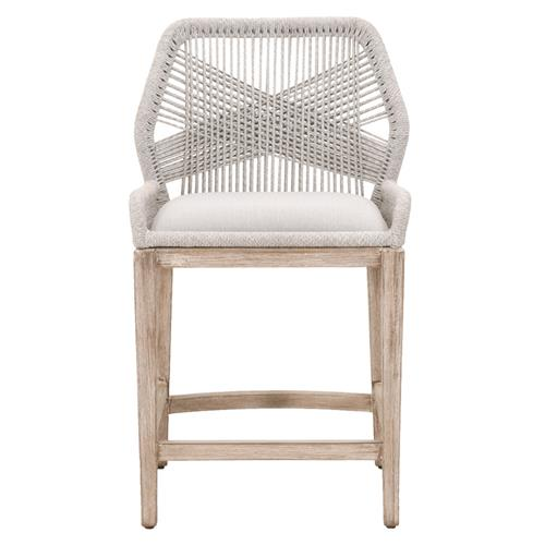 Lorry Coastal Beach Taupe Rope Woven Mahogany Performance Counter Stool | Kathy Kuo Home