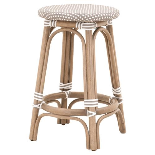 Peter French Country Woven Round Seat Old Grey Rattan Outdoor Counter Stool | Kathy Kuo Home