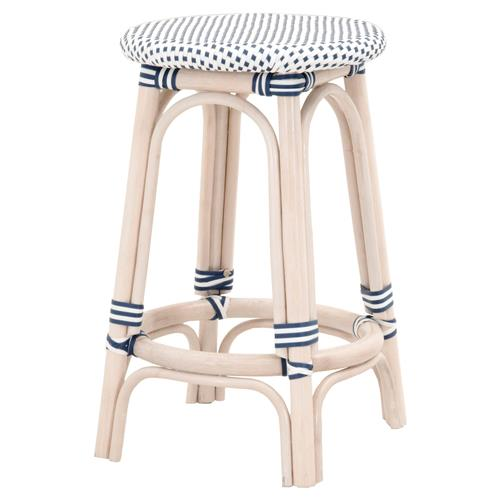 Peter French Country Woven Round Seat White Wash Rattan Outdoor Counter Stool | Kathy Kuo Home