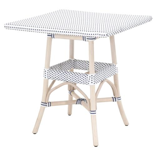 Peter French Country Woven White Wash Rattan Square Outdoor Bistro Dining Table | Kathy Kuo Home