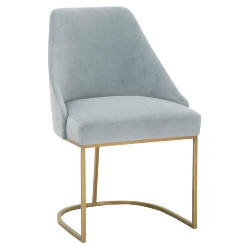 Patricia Modern Brushed Gold Blue Velvet Upholstered Dining Side Chair - Set of 2 | Kathy Kuo Home