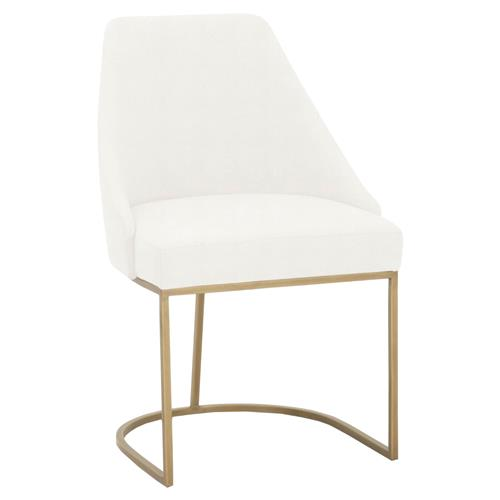 Patricia Modern Brushed Gold Peyton White Performance Dining Side Chair - Set of 2 | Kathy Kuo Home