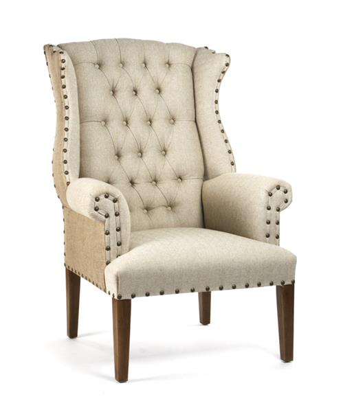 Gilles French Country Rustic Tufted Burlap Linen Wing Chair | Kathy Kuo Home