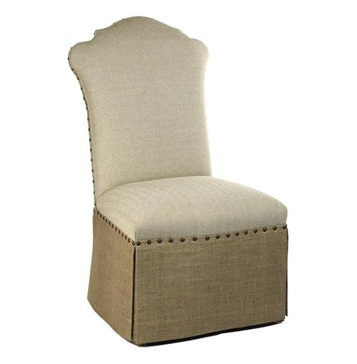 French Country Jute Linen Skirted Dining Chair | Kathy Kuo Home