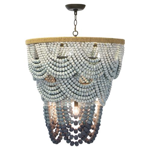 Regina Andrew Coastal Living Ombre Blue Ombre Beaded Rattan Chandelier | Kathy Kuo Home