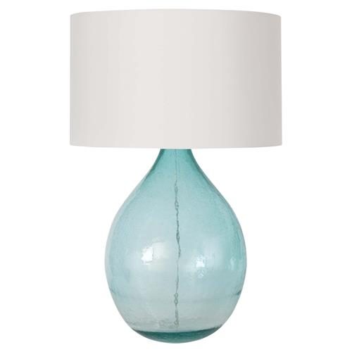 Regina Andrew Catalina White Linen Shade Translucent Blue Glass Table Lamp | Kathy Kuo Home