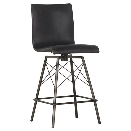 Drake Mid Century Modern Black Leather Upholstered Iron Swivel Counter Stool | Kathy Kuo Home