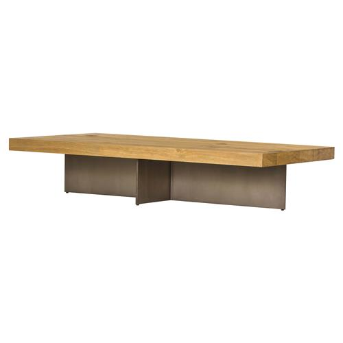 Anton Modern Classic Bronze Base Brown Solid Oak Coffee Table | Kathy Kuo Home