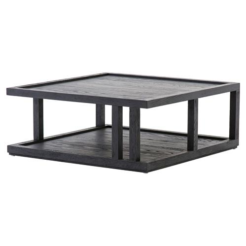 Cally Modern Classic Black Oak Square Coffee Table | Kathy Kuo Home