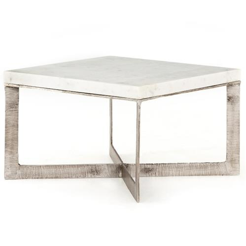Louella Modern Classic Distressed Brushed Nickel White Marble Coffee Table | Kathy Kuo Home