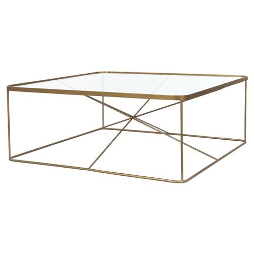 Louie Modern Classic Antique Brass Square Tempered Glass Coffee Table | Kathy Kuo Home