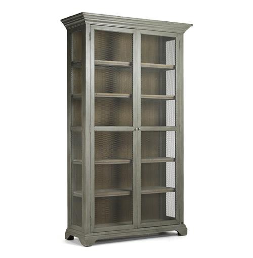 Lucille French Country Grey Wash Chicken Wire Bookcase Cabinet | Kathy Kuo Home