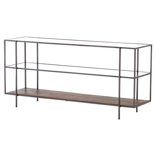 Billy Modern Classic Tempered Glass Mango Wood Shelves Black Iron Console Table | Kathy Kuo Home