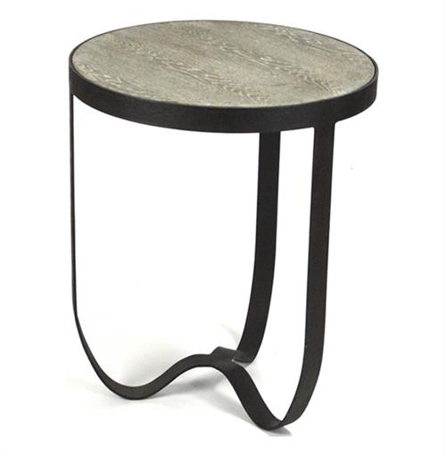 Deco Industrial Modern Rustic Metal Round Side Table | Kathy Kuo Home