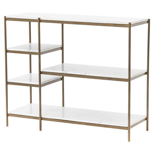 Loisa Modern Classic White Marble Shelves Antique Brass Frame Console Table | Kathy Kuo Home