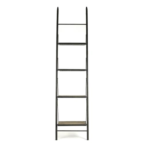 Martina Industrial Loft Reclaimed Wood Ladder Bookcase - 24 Inch | Kathy Kuo Home
