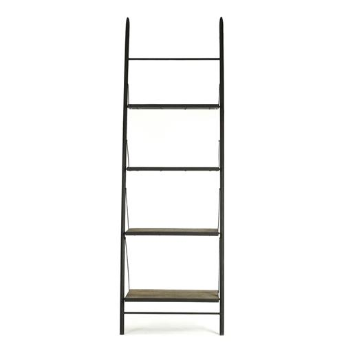 Martina Industrial Loft Reclaimed Wood Ladder Bookcase - 32 Inch | Kathy Kuo Home