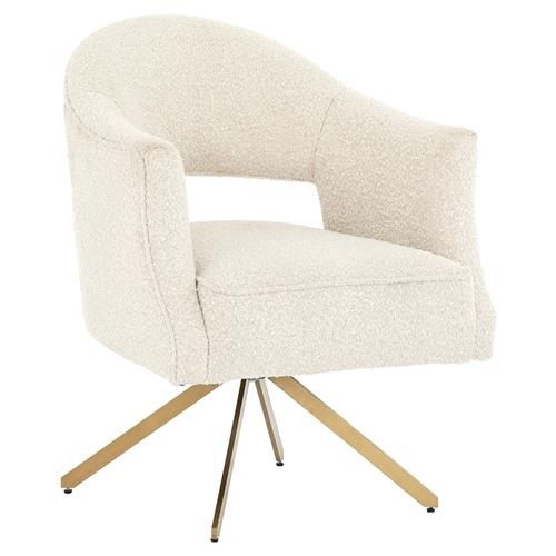 Alexis Modern Classic Ivory Upholstered Polished Brass Occasional Arm Chair | Kathy Kuo Home