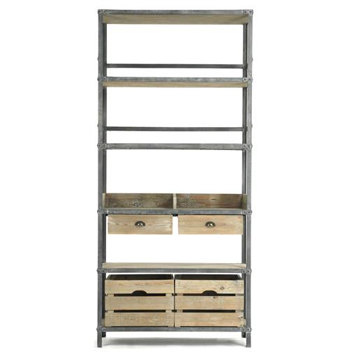 Ardsley Industrial Loft Grey Metal Bakers Rack Bookcase | Kathy Kuo Home
