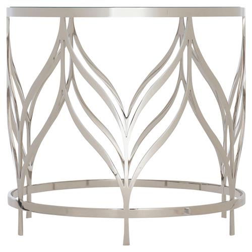 Augusta Modern Classic Tempered Glass Top Round Side End Table | Kathy Kuo Home