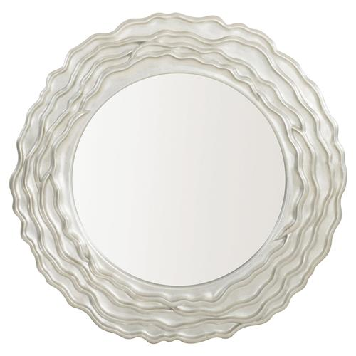 Augusta Modern Classic Silver Wood Inset Round Wall Mirror | Kathy Kuo Home