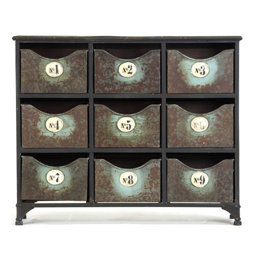 Reclaimed Industrial Iron 9 Drawer Storage Cabinet | Kathy Kuo Home