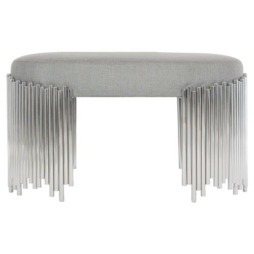 Augusta Modern Classic Grey Upholstered Steel Base Oval Bench | Kathy Kuo Home