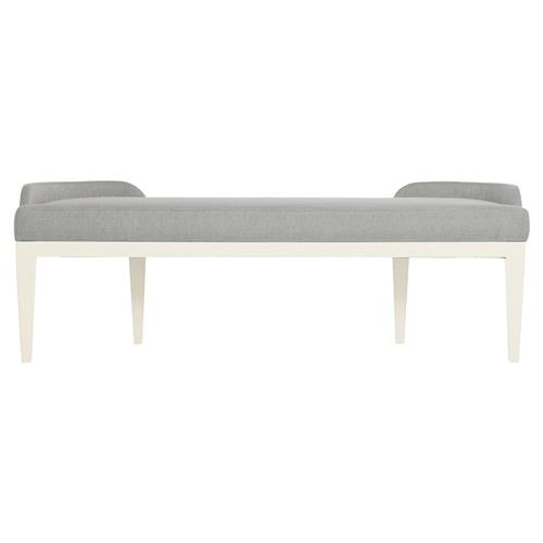 Augusta Modern Classic Grey Upholstered Curved Arm Bench | Kathy Kuo Home