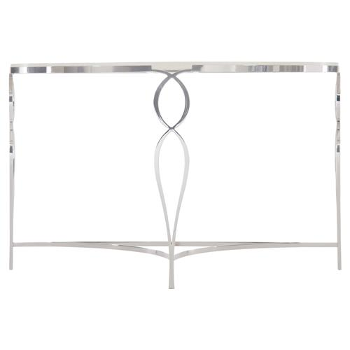 Augusta Modern Classic Inset Wood Top Steel Base Demilune Console Table | Kathy Kuo Home