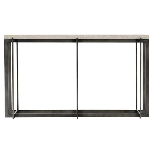 Hilda Modern Classic Travertine Stone Top Metal Rectangular Console Table | Kathy Kuo Home