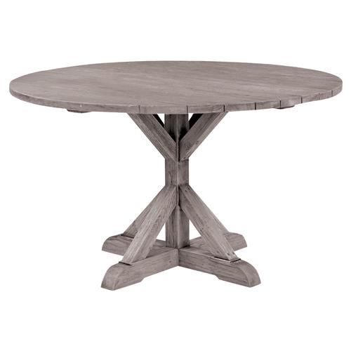 Kingsley Bate Provence French Grey Teak Outdoor Round Dining Table - 50 inch | Kathy Kuo Home