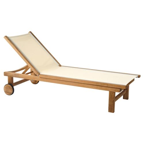 Kingsley Bate St. Tropez Coastal  Beige Teak Outdoor Adjustable Chaise Lounge | Kathy Kuo Home