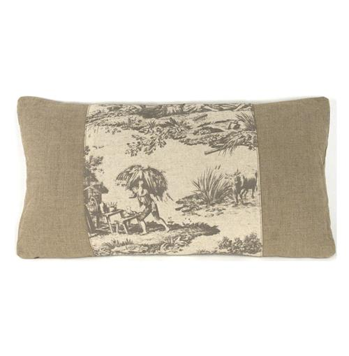 French Country Burlap Grey Toile Toss Pillow 13.5x26 | Kathy Kuo Home