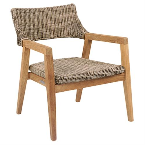 Kingsley Bate Spencer Mid Century Modern Brown Wicker Teak Outdoor Club Chair | Kathy Kuo Home
