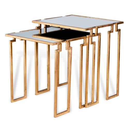 Hollywood Regency Antique Gold Leaf Mirror Nesting Side Tables | Kathy Kuo Home